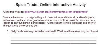 Spice Trader Online Activity