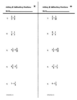 Spice Up Warm-Up! 4-Corners: Add Subtract Fractions Mixed Numbers