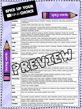 Spice Up Your Word Choice! Poster OR Student Resource!