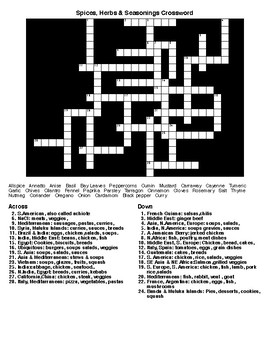 Spices, Herbs & Seasonings Crossword & Word Search w/KEYS