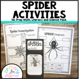 Spider Activities No Prep Math, Literacy and Science Pack