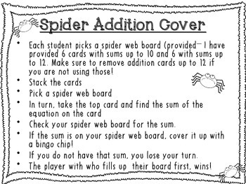 Spider Addition Cover: A Fun Addition Game FREEBIE!!!
