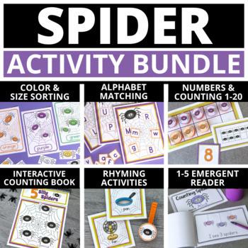 Spider Activities for Preschool & PreK | Halloween Literacy & Math Bundle