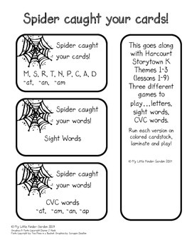Spider Caught Your Cards!  Harcourt Storytown K, Themes 1-3 review game