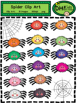 Spider Clip Art - Bright Spiders - Personal and Commercial Use