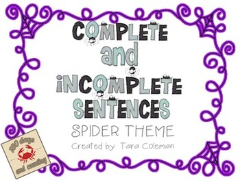 Spider Complete & Incomplete Sentences Freebie