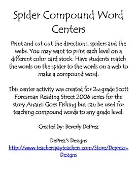 Spider Compound Words Reading Street Grade 2 Anansi Goes Fishing