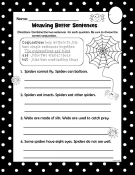 Spider Conjunctions (and/but) second grade