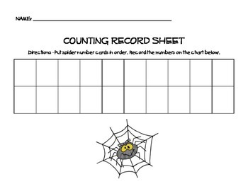 Spider Counting (Counting by 1s to 20) with worksheet