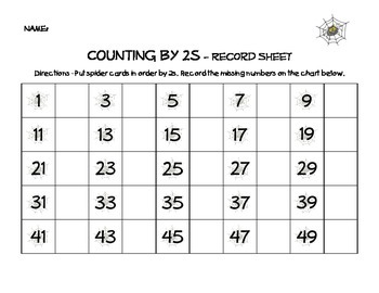Spider Counting (Counting by 2s to 50) with worksheet