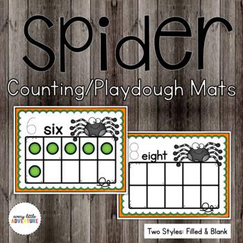 Spider Counting/Playdough Mats (Halloween)