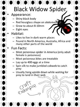 Spider Craft and Writing Practice FREEBIE, Black Widow, Halloween,