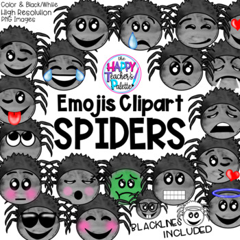 Spider Emojis Clip Art Watercolor {The Happy Teacher's Palette Clip Art}