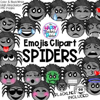 HTP Clip Art Spider Emojis Watercolor {The Happy Teacher's Palette}