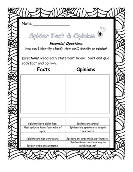 Fact and Opinion -spider theme