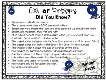 Spiders: Facts, Activities, and Writing