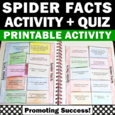 Spiders Unit Supplement, Spider Facts Science Interactive Notebook