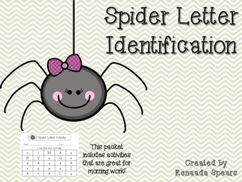Spider Letter Identification Activity Sheets