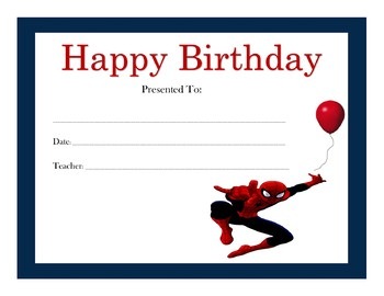Spider Man Birthday Certificates (Includes 6 Certificates)