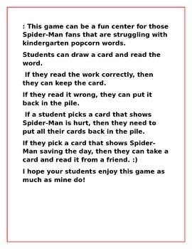 Spider-Man Kindergarten Sight Word Center