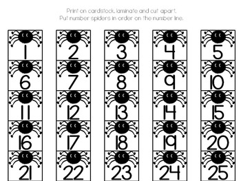 Number Line 0-125 Spiders FREE
