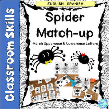 Spider Match-Up Practice Uppercase Lowercase Letters FREE