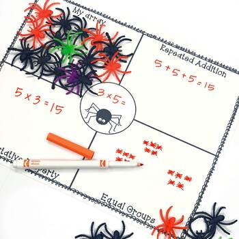 Multiplication with Manipulatives- Halloween Spider Math