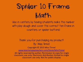 Spider Math 10 Frames