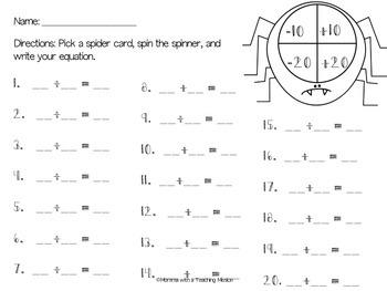 Spider Math 1.NBT.5 1.NBT.6 Math Center Activity