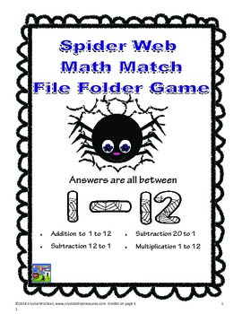 Spider Math File Folder Game