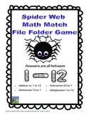 Spider Math File Folder Game