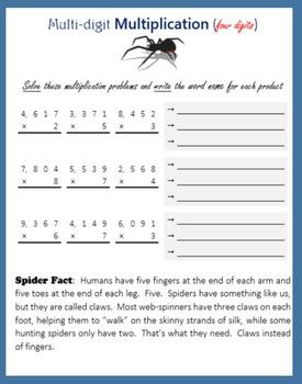 Spider Math:  Multi-digit Multiplication