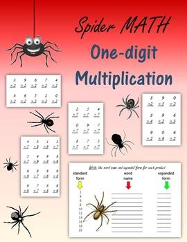 Spider Math:  One-digit Multiplication