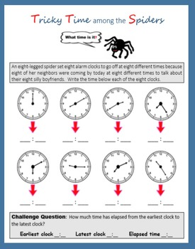 Telling Time:  Spider Math