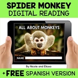 Spider Monkey Reading Comprehension for Google Classroom