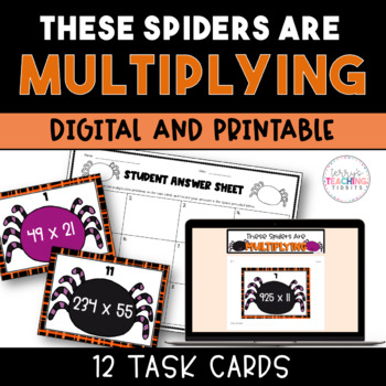 Spider Multiplication Task Cards Freebie - *4th and 5th*