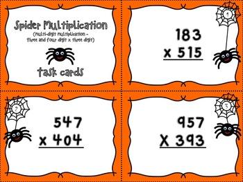 Spider Multiplication - Three and four digit x three digit