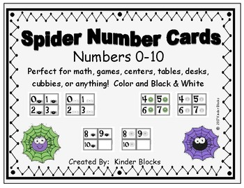 Spider Number Cards 0-10