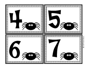 Spider Number Cards 0-20