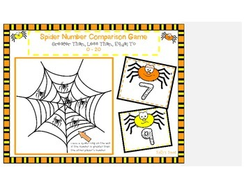 Spider Number Comparison Game - Greater Than, Fewer Than, Equal To