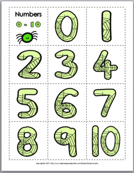 Spider Math Number Matching 1-20 Ten Frame, Tally Marks, Counting, Numeral, Word