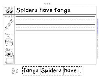 """""""Spider"""" Read It, Write It, Glue It, Draw It"""
