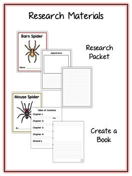 Spider Research Project - 13 Types, Vocab Cards, Packet, Book  + More!