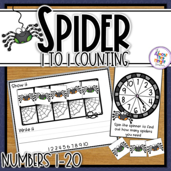 Spider Roll and Count - a Number Counting and Writing activity - 1-20