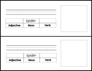 Spider Sentences (adjective, noun, verb)