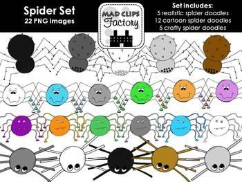 Spider Clipart Set