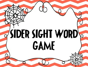 Spider Sight Word Game
