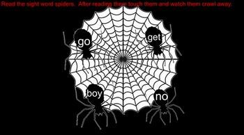 Spider Sight Words (Kindergarten level words)