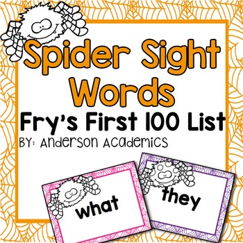 Spider Sight Words - Fry's FIRST 100 Words
