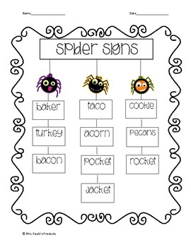 Spider Signs- Articulation activity for /k/ in all positions (No Prep)